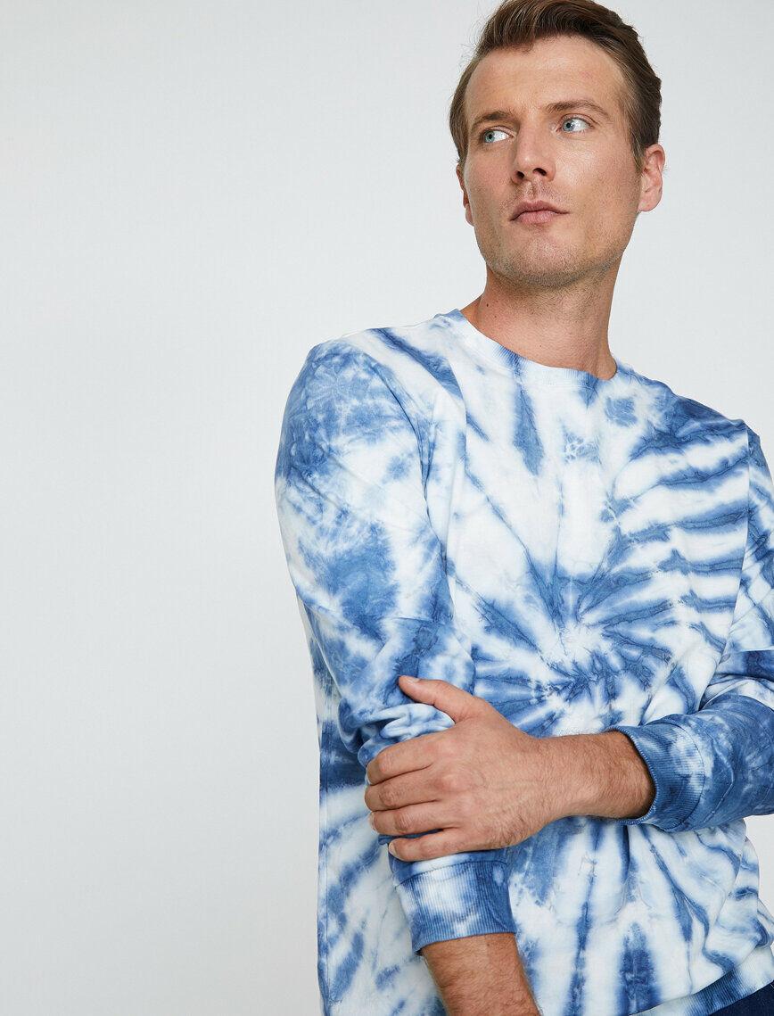 Mens Sweatshirts | Private Label Sweatshirt Manufacturer: % 100 Cotton - Manual Tie Dye - Fashion Apparel - Navy - Autumn Winter - Menswear - Helix Effect - Crew Neck