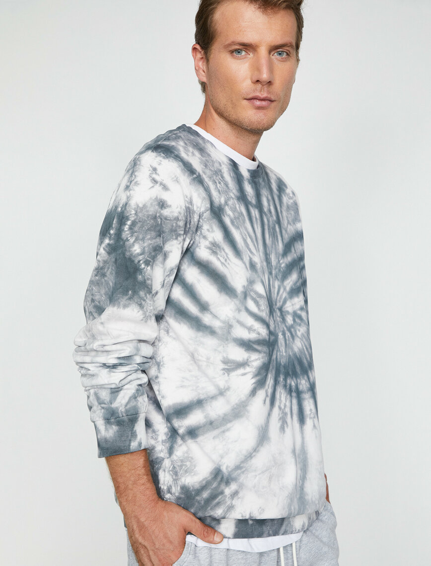 Mens Sweatshirts | Private Label Sweatshirt Manufacturer: % 100 Cotton - Manual Tie Dye - Fashion Apparel - Grey - Autumn Winter - Menswear - Helix Effect - Crew Neck