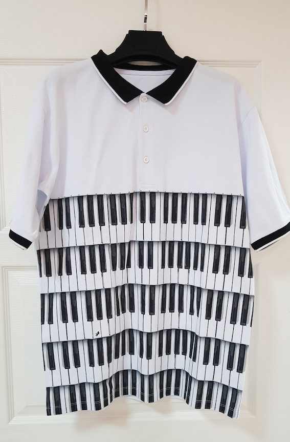 Men's Polos | Private Label Polo Shirt Manufacturer: Men's Polo Shirt - % 100 Cotton Pique - Digital Printed - Piano Jazz Theme - Fashion - Spring Summer - Black And White