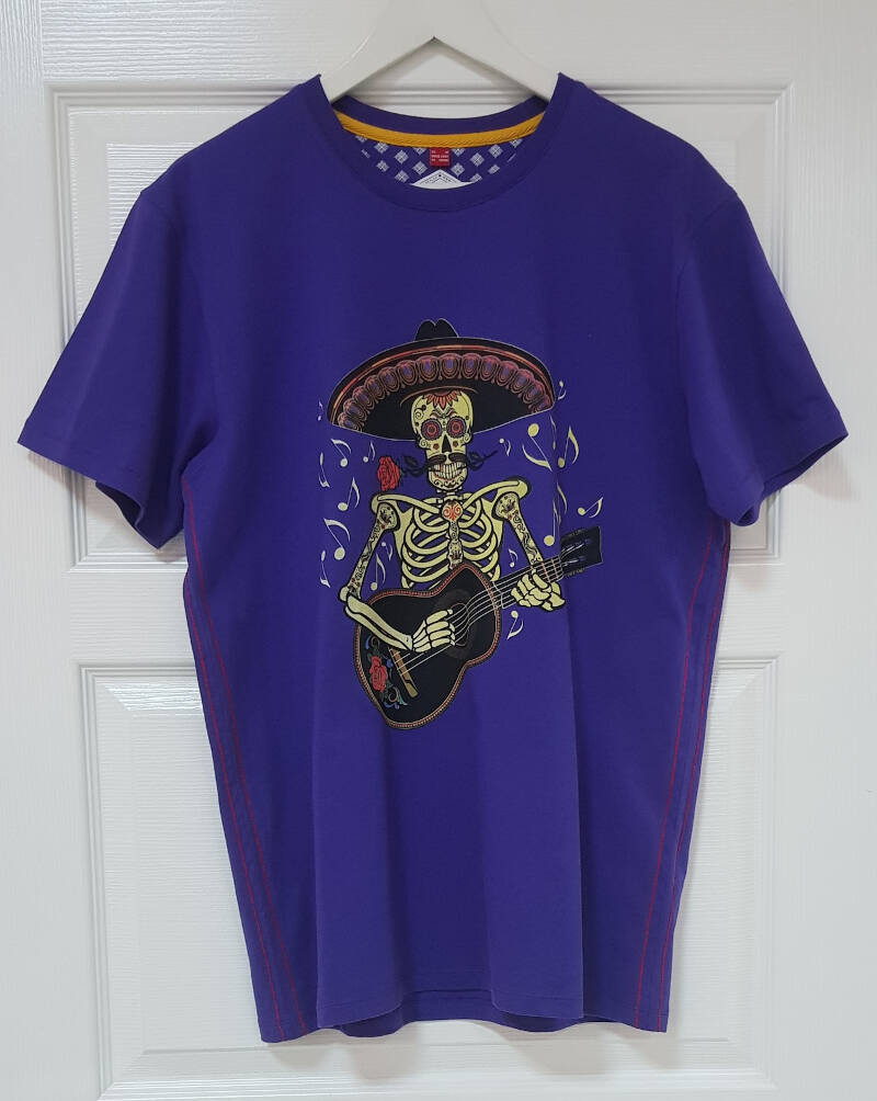 Men's T Shirts | Private Label T Shirt Manufacturer: Men's Printed T Shirt - Cmyk Placement Print - Heavy Jersey - Fashion Apparel - Uk Fashion - Blue - Skeleton - Skull - Spring Summer