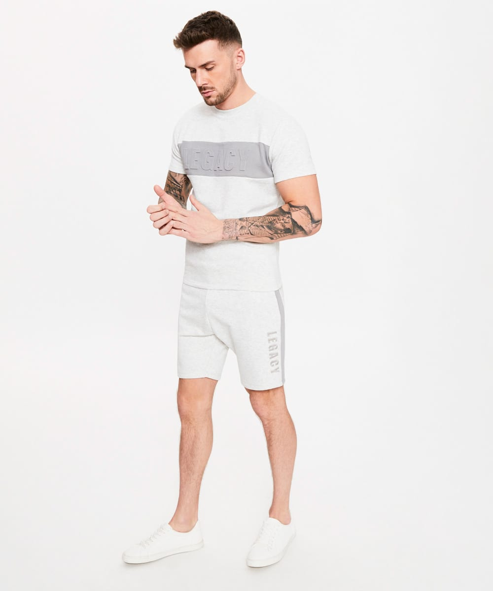 Men's Short T Shirts | Private Label Short Tshirt Manufacturer: Men's Basketball Short - Cotton Polyester Fleece - Embroidery - Emboss Print - Off White - Spring Summer - Fashion Apparel