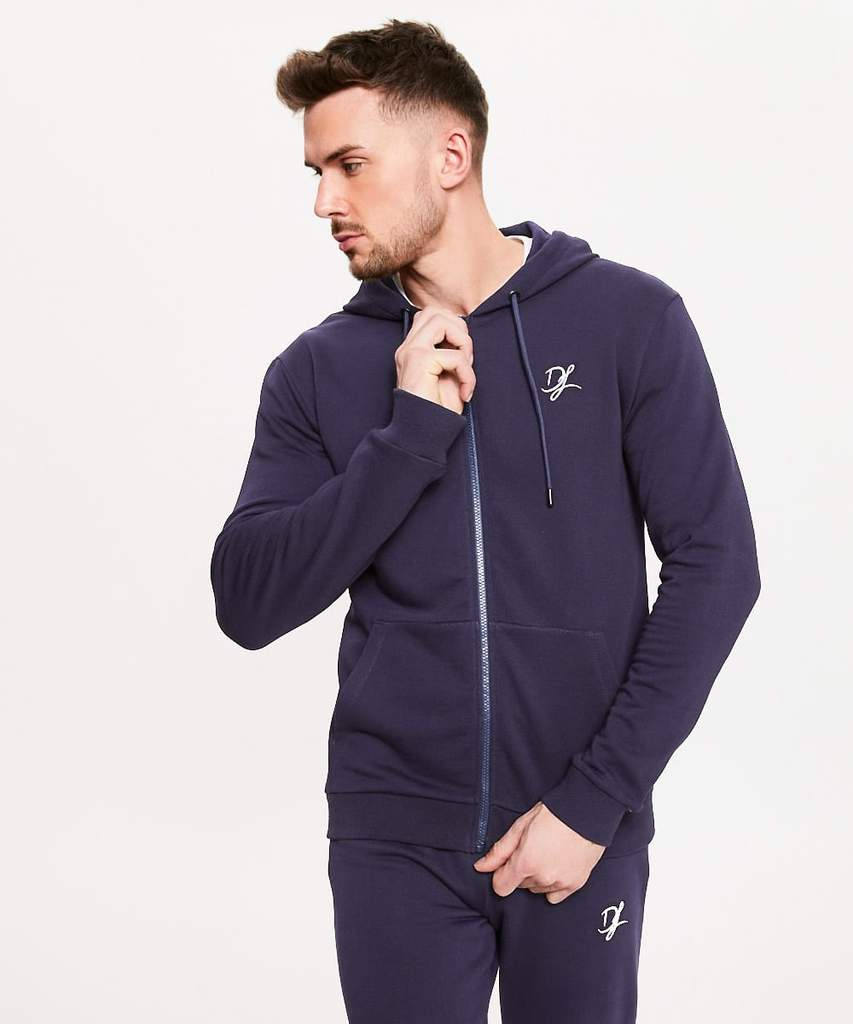 Men's Hoodies | Private Label Hoodie Manufacturer: Men's Training Jacket - Cotton Polyester Fleece - Heavy Jersey - Sportswear - Zipped Hoodie - Activewear Jacket - Fashion Apparel - Embroidered Logo - Navy