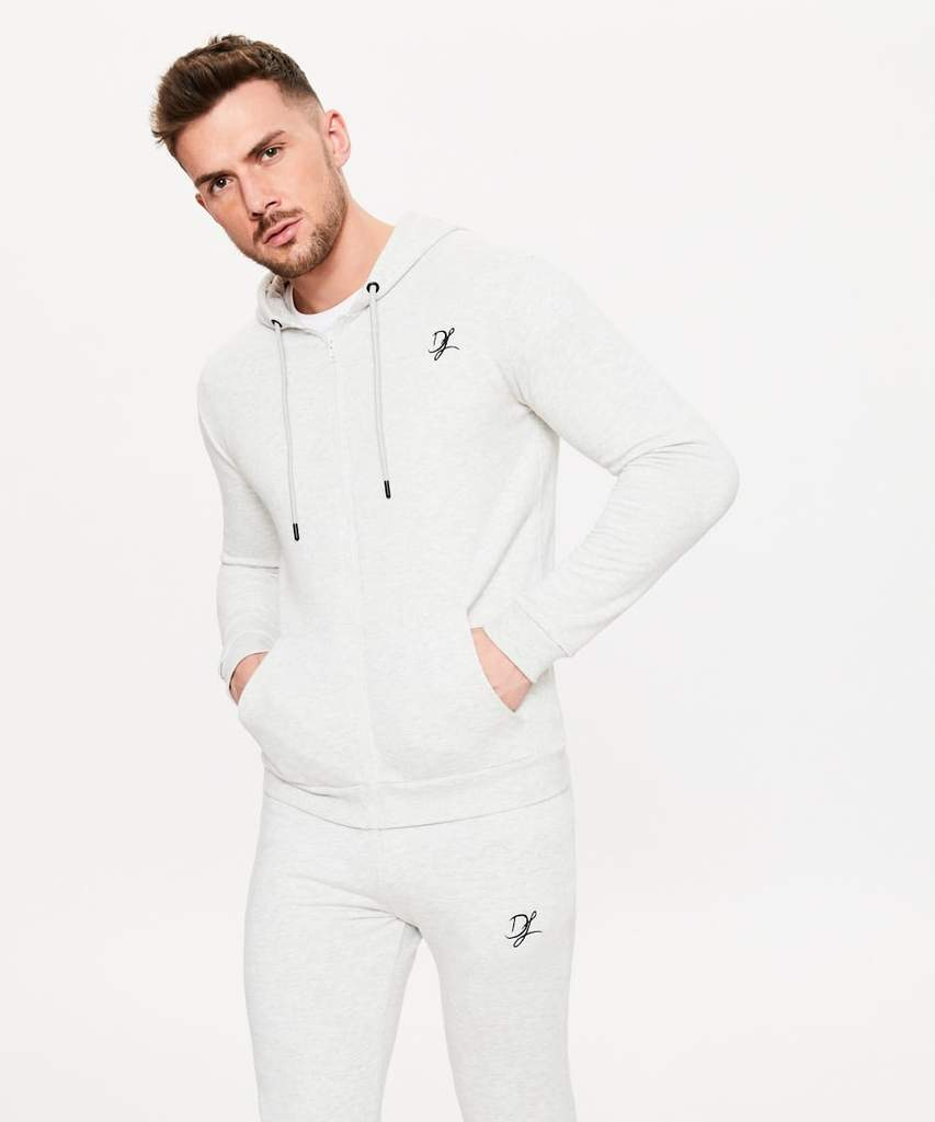 Men's Hoodies | Private Label Hoodie Manufacturer: Men's Training Jacket - Cotton Polyester Fleece - Heavy Jersey - Sportswear - Zipped Hoodie - Activewear Jacket - Fashion Apparel - Embroidered Logo - Grey Melange